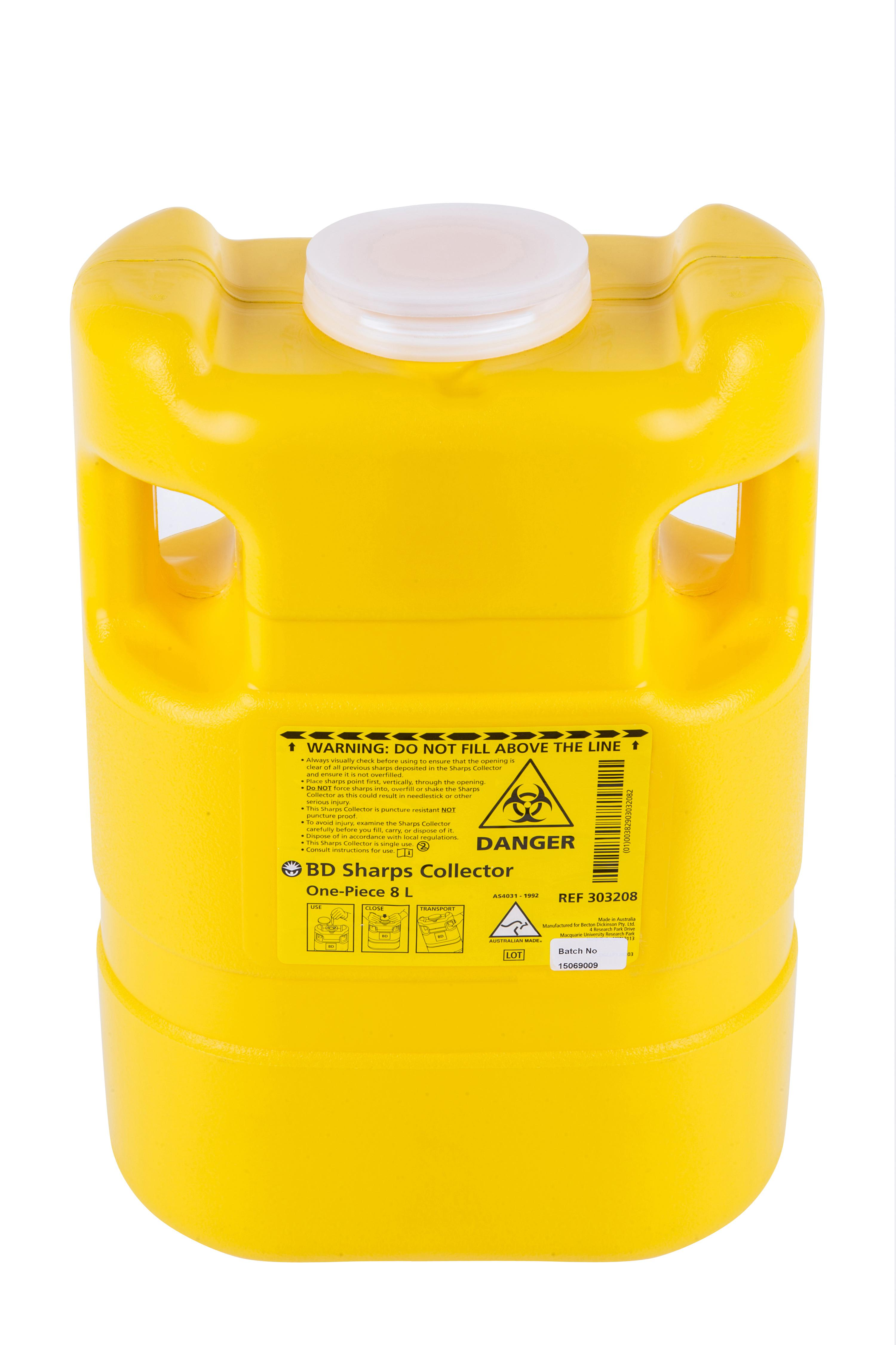 Single Use 8 Litre One Piece Sharps Container Interwaste