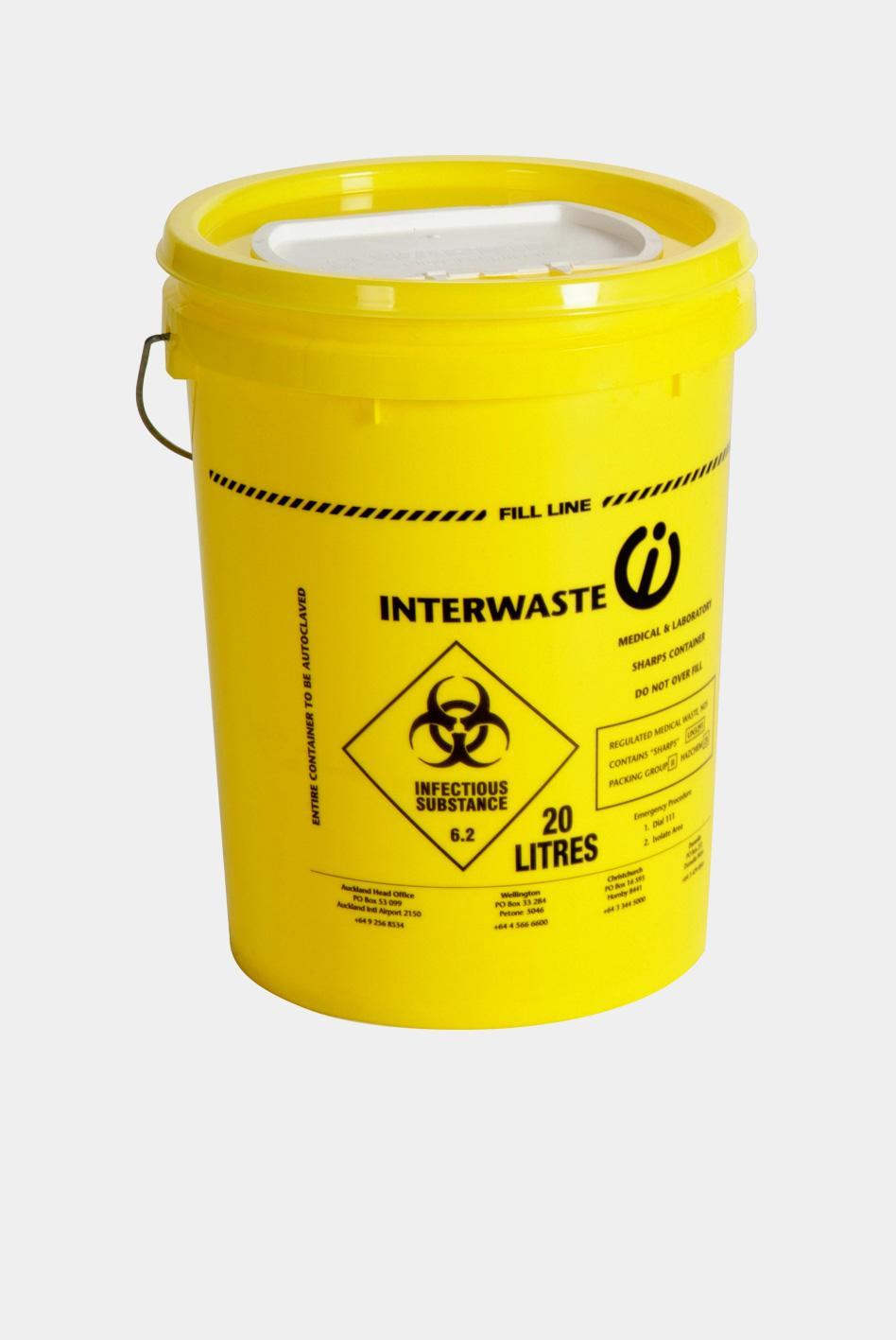 Single Use 17 Litre One Piece Sharps Container Interwaste